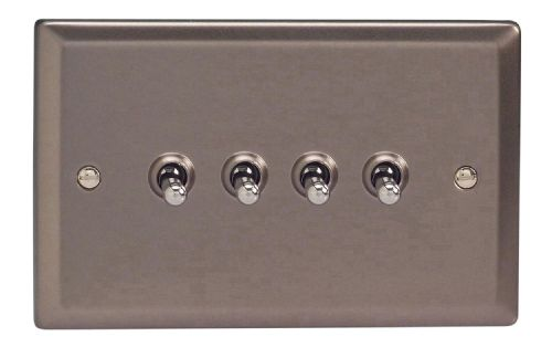 Varilight XRT9 Classic Pewter 4 Gang 10A 1 or 2 Way Toggle Light Switch